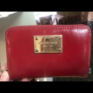 Michael Kors red wallet with wristlet strap